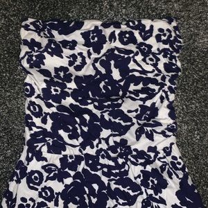 GAP BLUE AND WHITE STRAPLESS DRESS
